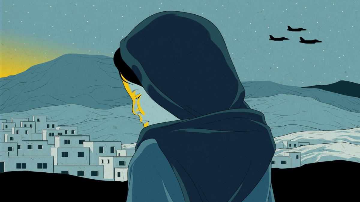 An illustration in shades of blue shows a woman in a hijab looking sadly over a city from a rooftop as fighter jets fly over. In the corner, a yellow sun rises.