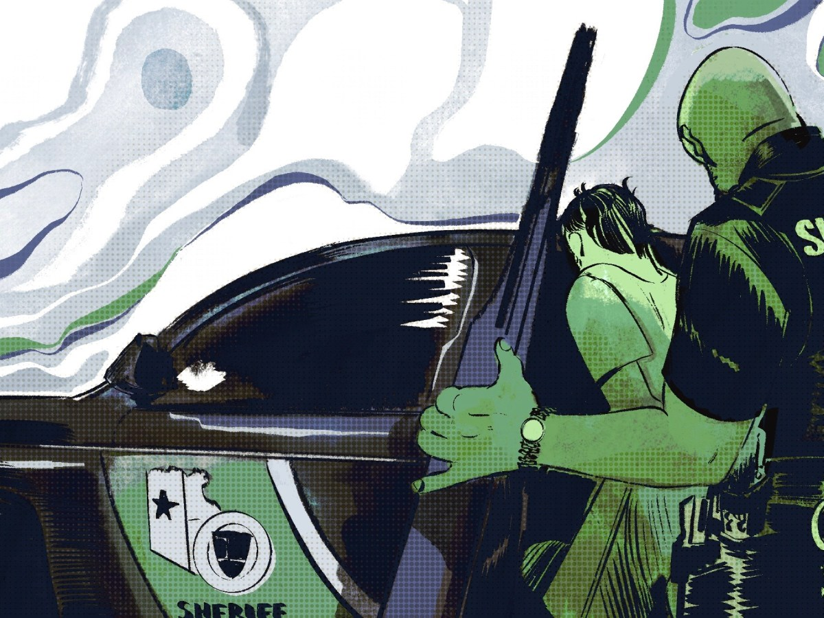 An illustration in hues of green and black show a deputy putting a teenager in the back of a cruiser.