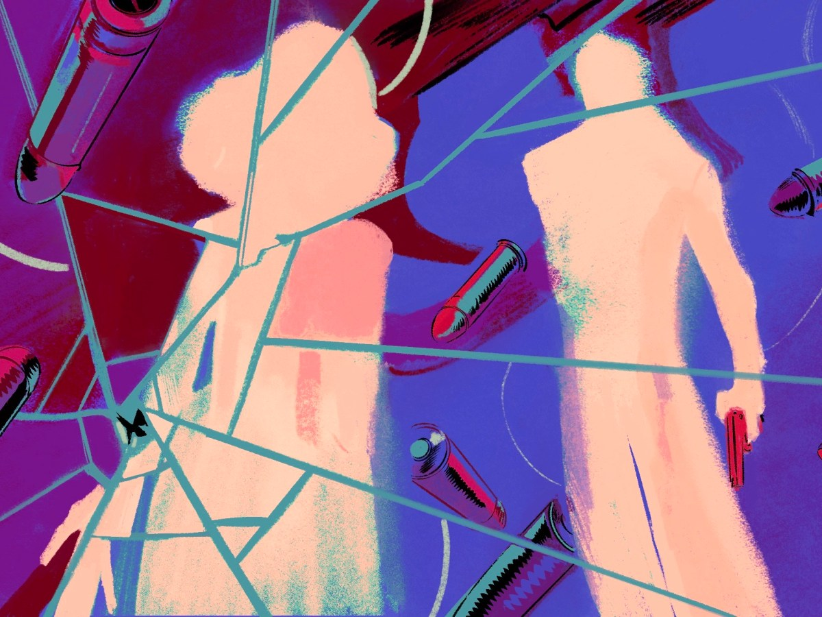 An illustration shows a man holding a gun and staring at a woman. They are surrounded by bullets. In the foreground is shattered glass.