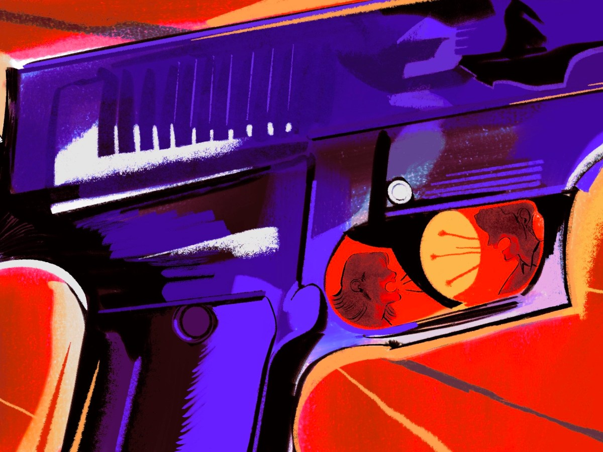 An illustration shows a detail of a gun. In the trigger, a man and a woman are arguing.