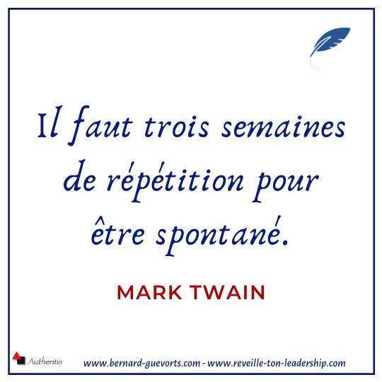 Citation de Mark Twain sur la répétition