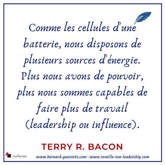 Citation de Terry Bacon sur les sources de pouvoir