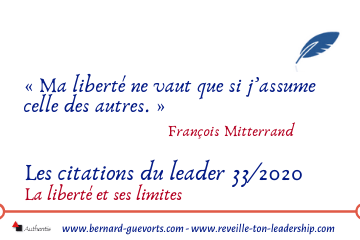 Couverture article citations du leader sur la liberté 33/2020