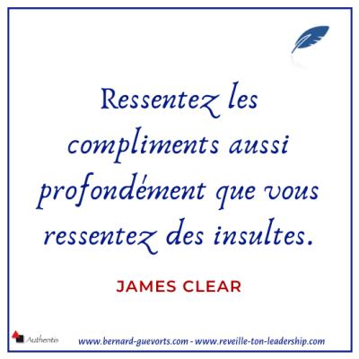 Citation de James Clear sur le compliment