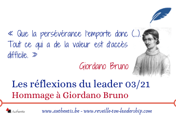Couverture réflexions du leader 03/21 sur Giordano Bruno