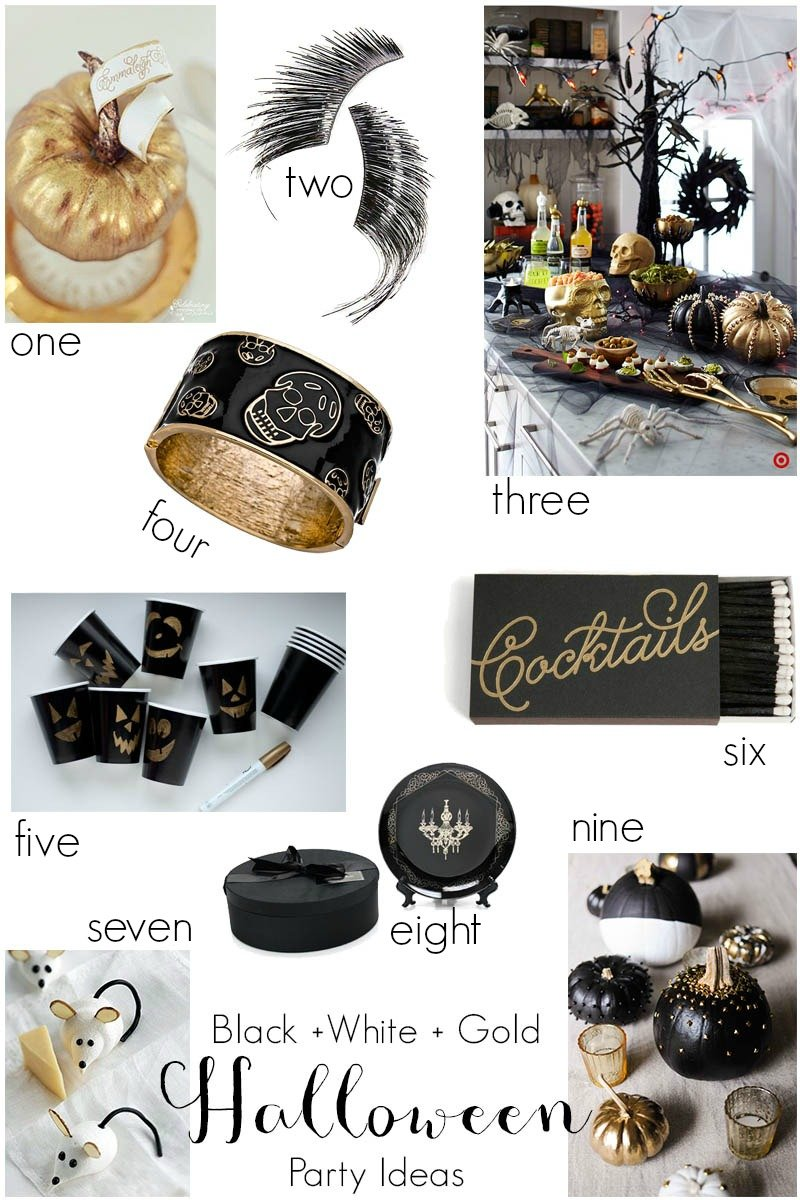 Black White Gold Halloween Party Ideas Revel And Glitter