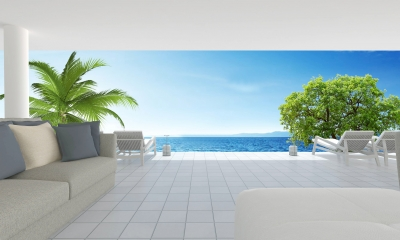 Beach Living On Sea View And Blue Sky Background-3d Rendering by kanmanatth