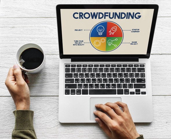 Crowdfunding graph on laptop screen