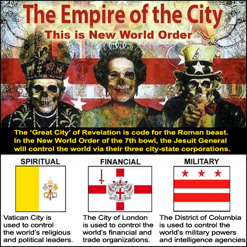 The 7th bowl of Revelation, the great city, is the Roman beast and their three city-state corporations