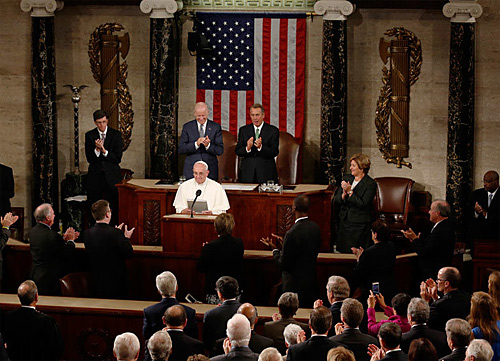 Pope Francis speaks in the House of Representatives, in between the Roman fasces symbols