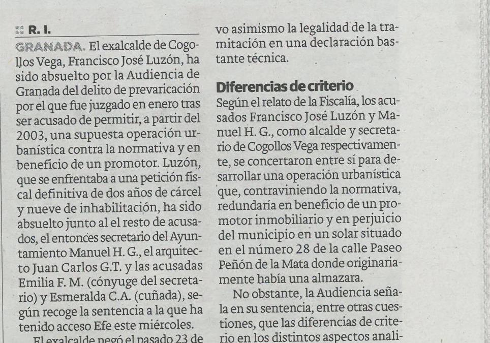 La Audiencia concluye que el exalcalde de Cogollos Vega no benefició a un promotor