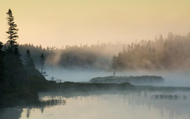 A Beautiful Misty Sunrise On A Mountain Lake Wallpaper By