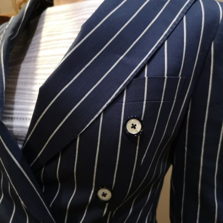 tailleur pantalon-rayé-bleu-blanc