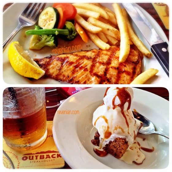 Main Course, Dessert and Beverage at Outback Steak House