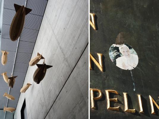 zeppelin museum art + pope sticker graffiti
