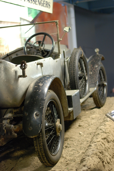 The side of a car on display at the Simeone Foundation Automotive Museum.