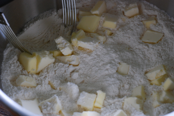 Biscuit dry ingredients and butter