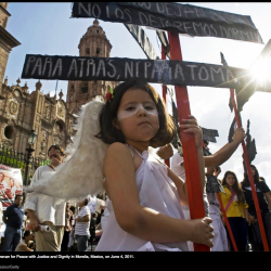 Children participate in the Caravan for Peace with Justice and Dignity in Morelia, Mexico, on June 4, 2011. Photo credit: © Porfirio Gonzalez/Getty