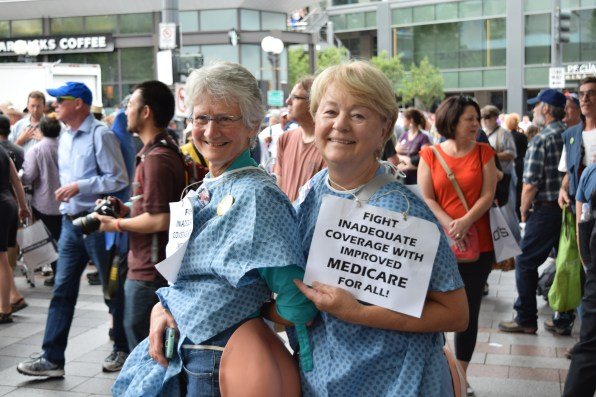 Volunteer at Westlake Park Social Security rally where Bernie Sanders was set to speak, but didn't get the chance