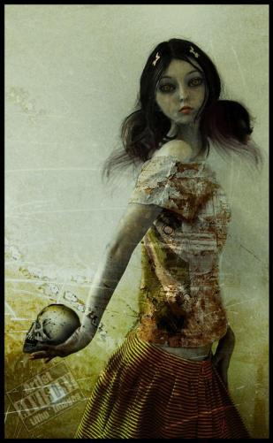 halloweenwoman holding skull