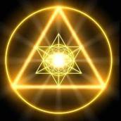 Goldencirclewithgoldenpyramidinside