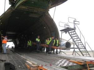 Installation des rampes par l'équipage russe