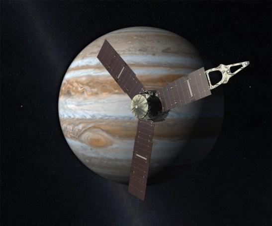 Vue d'artiste de la sonde JUNO autour de Jupiter