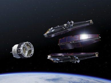 Vue d'artiste de la séparation lanceur des 3 satellites SWARM