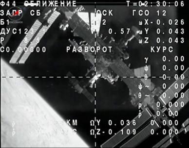 Le vaisseau Soyouz vient juste de se désarrimer de l'ISS (capture d'écran NASA TV via @cpamoa)