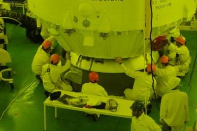 installation du composite sur le lanceur