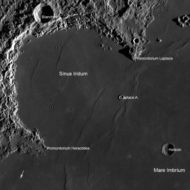 La zone d'atterrissage prévue pour Chang'e3 (source NASA-GSFC-ASU)