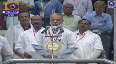 Discours de félicitations du Dr. Radhakrishnan, directeur de l'ISRO (capture écran)