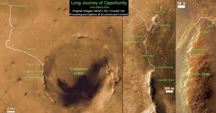 """Carte montrant la distance parcourue par le rover Opportunity sur Mars pendant 10 ans et plus de 3540 Sols [ou jours martiens] depuis l'arrivée à l'intérieur d'Eagle Crater le 24 janvier 2004 à l'emplacement actuel par """"Solander point"""" sur le bord ouest du cratère Endeavour (Crédit: NASA / JPL / Cornell / ASU / Marco Di Lorenzo / Ken Kremer)"""