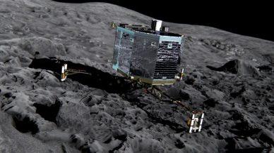 Vue d'artiste de Philae sur la surface de la comète (source ESA/ATG medialab)