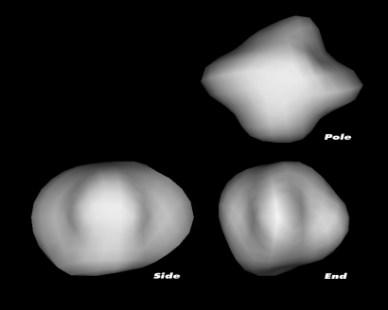 Modèles 3D du noyau de la comète 67P/CG selon des mesures prises par le télescope spatial Hubble (taille, forme et période de rtoation) (Copyright: NASA, ESA, Philippe Lamy du Laboratoire d'Astronomie Spatiale, France)
