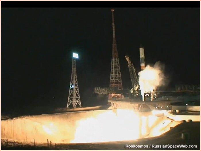 La fusée Soyouz décolle ce 16 avril avec à son bord le satellite EgyptSat-2 (source Roscosmos / RussianSpaceWeb.com)