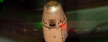 SPX3 s'écarte de l'ISS (source NASA TV)