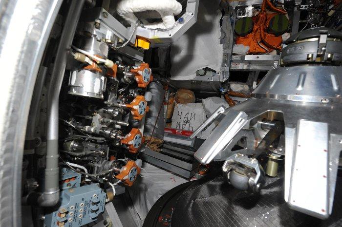 Vue de l'intérieur du cargo Progress (source blog d'Oleg Artemyev)