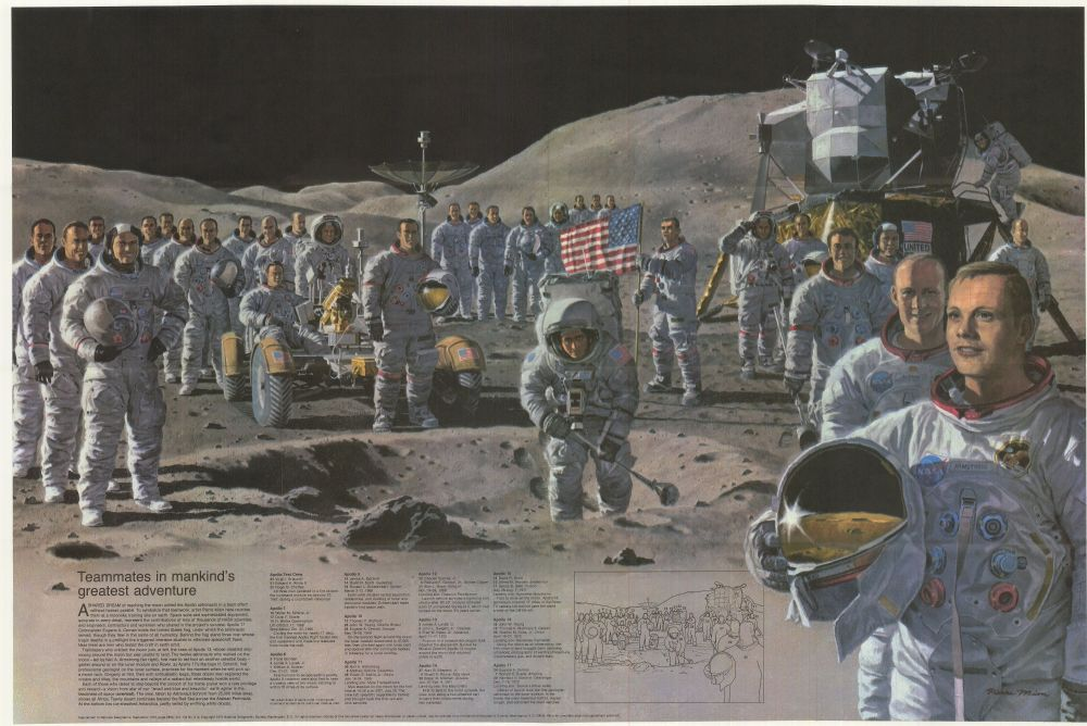 Tous les astronautes des missions Apollo en illustration (source National Geographic Society 1973)