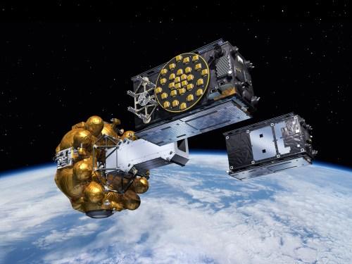 """Vue d'artiste du """"dispenser"""" libérant dans leurs orbites finales les deux premiers satellites de la capacité opérationnelle totale Galileo SAT 5-6. ©ESA–J. Huart, 2014"""