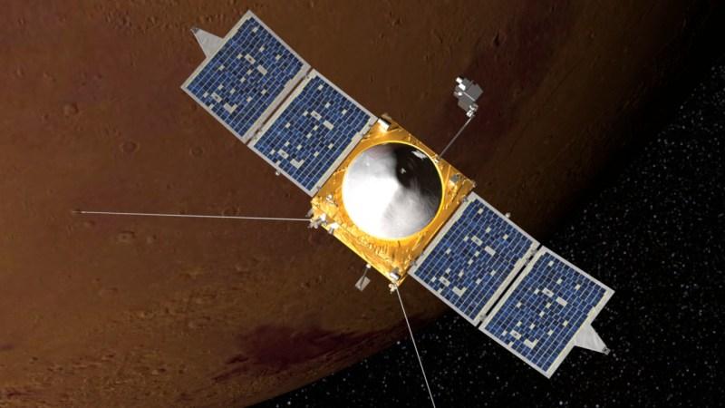 Vue d'artiste de MAVEN en orbite autour de Mars (source NASA)