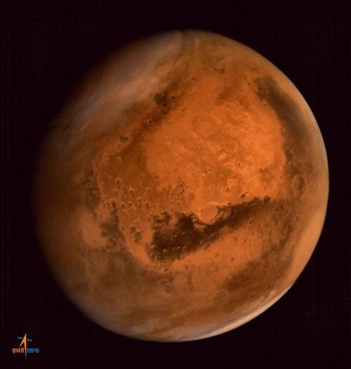"""Tempête de poussière régionale sur l'hémisphère nord de Mars, capturée par la caméra """"Mars Color"""" à bord de Mars Orbiter à l'altitude de 74500 km, le 28 septembre 2014 (©ISRO)"""