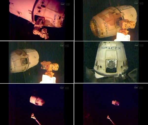 Départ du cargo Dragon SpX4 de l'ISS le 25/10/14 (source NASA TV)