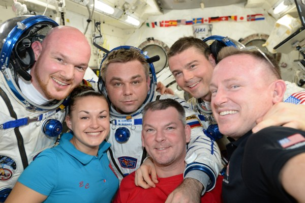 "Alexander Gerst : ""The International Space Station Expedition 41 crew. My favourite selfie in space !""  (Credits: ESA/NASA)"
