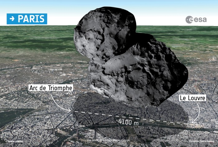 ©ESA/Rosetta/Navcam (pour la comète) / Map data ©2014 Google - Bluesky
