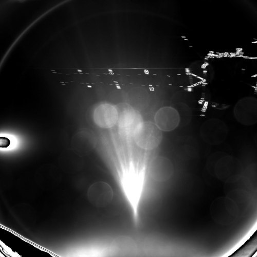 L'atterrisseur Philae de Rosetta a pris cette photo de la séparation de son vaisseau-mère peu après la séparation. L'image a été prise avec le système d'imagerie CIVA-P de l'atterrisseur et a capturé un des panneaux solaires de 14 mètres de long de Rosetta (©ESA/Rosetta/Philae/CIVA)