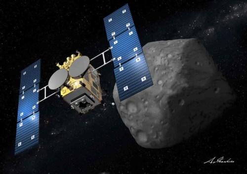 Vue d'artiste de la sonde Hayabusa-2 approchant de l'astéroïde 1999 JU3. Crédits : Akihiro Ikeshita