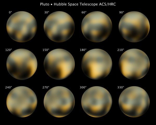 Vue la plus détaillée à ce jour de toute la surface de la planète naine Pluton, construite à partir de plusieurs photos du télescope spatial Hubble de la NASA prises de 2002 à 2003 (Crédit: NASA, ESA, et M. Buie (Southwest Research Institute))