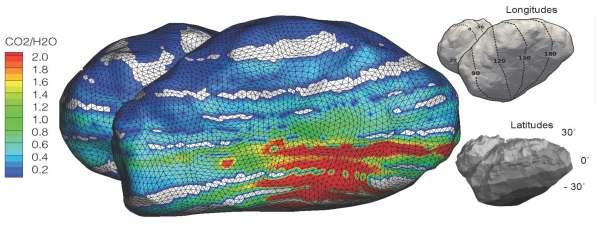 Rapport H20/CO2 à la surface de la comète 67P, mesuré par l'instrument ROSINA embarqué à bord de Rosetta. Crédit : ESA/Rosetta/ROSINA/UBern, BIRA, LATMOS, LMM, IRAP, MPS, SwRI, TUB, Umich