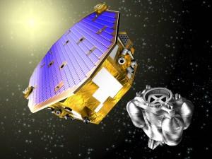 Vue d'artiste de la mission LISA Pathfinder et son module de propulsion après leur séparation en orbite au point de Lagrange L1(crédit ESA)